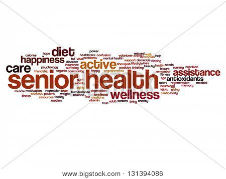 Vector concept conceptual old senior health, care or elderly people abstract word cloud isolated on background