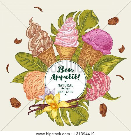 Tropical vector summer natural eco food background with soft Italian fruit ice cream, summer exotic Bon appetit menu card
