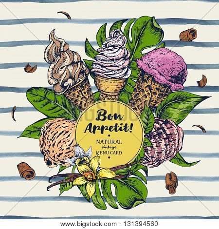 Tropical vector summer natural eco food background with soft Italian fruit ice cream, summer Bon appetit menu card on striped background