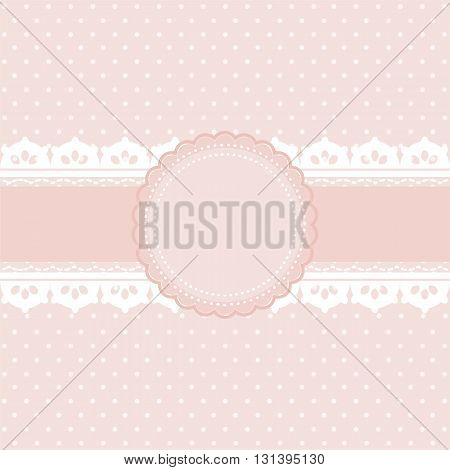 Pink and white polka dot background vintage style Greeting card template or background