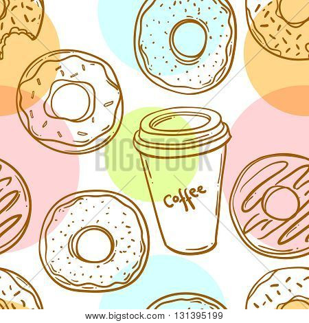 Donut vector illustration.Seamless pattern donut and coffee. Donut icon in a hand drawn style. Collection of sweet donuts isolated. Donuts icing sugar.