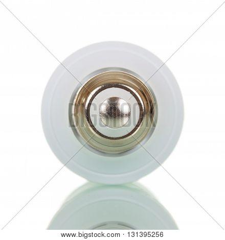 Compact energy saving bulb isolated on white background.