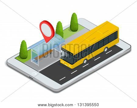 Public Transport. Bus Stop with Online Schedule. App for tablet Concept