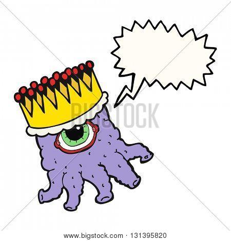 freehand drawn speech bubble cartoon king alien