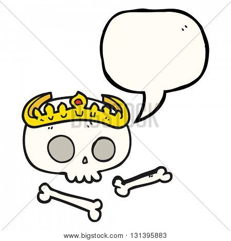 freehand drawn speech bubble cartoon skull wearing tiara
