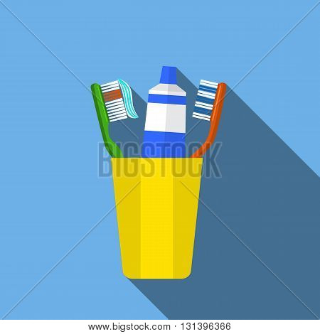 Toothbrush, toothpaste in a glass vector illustration. Toothbrush isolated on blue background. Toothbrush vector icon illustration. Toothbrush isolated vector. silhouette