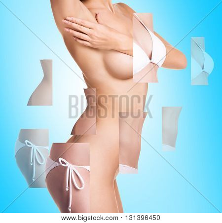 Plastic correction concept. Female body with parts on the blue background