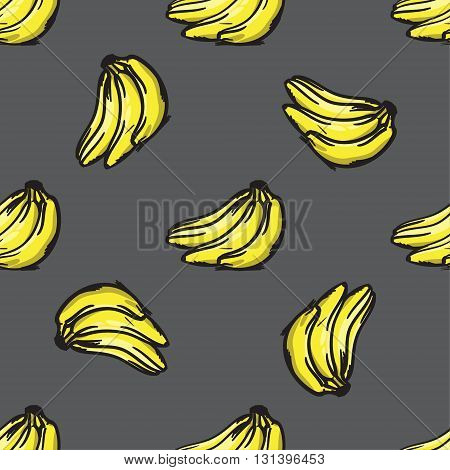 Vector Banana Seamless Pattern. Modern Texture. Repeating Endless Abstract Hand Drawn Background