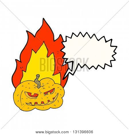 freehand drawn speech bubble cartoon flaming halloween pumpkin
