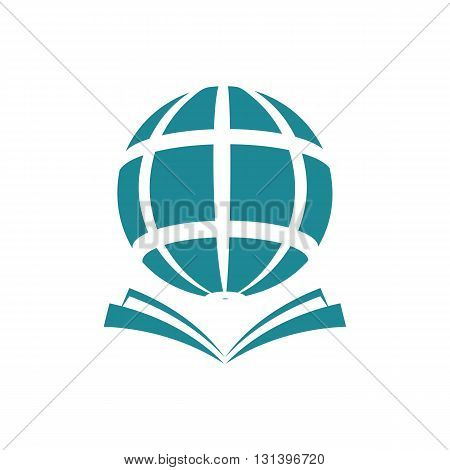 Globe with open book knowledge ideas concept vector illustration isolated on white background.