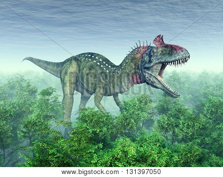 Computer generated 3D illustration with the dinosaur Cryolophosaurus