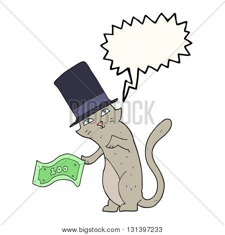 freehand drawn speech bubble cartoon rich cat
