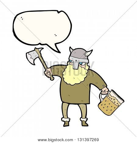 freehand drawn speech bubble cartoon drunk viking