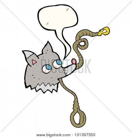 freehand drawn speech bubble cartoon dog with leash
