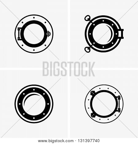 Set of four ship portholes ( shade pictures )