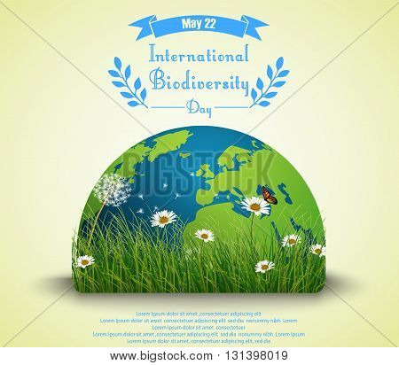 Vector illustration of Green grass and flowers with earth for International biodiversity day background