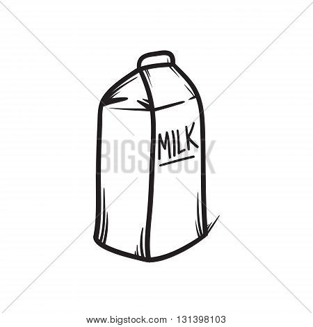 Milk pack vector hand drawn illustration. Black lines doodle icon.