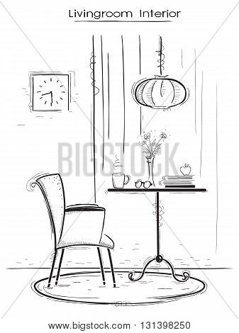 Livingroom Interior Place For Reading Or Relax.hand Drawn Sketch Of Illustration.