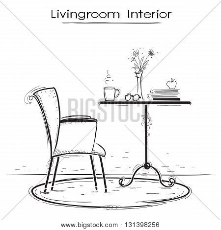 Livingroom Interior For Reading Or Relax.hand Drawn Sketch Of Illustration.
