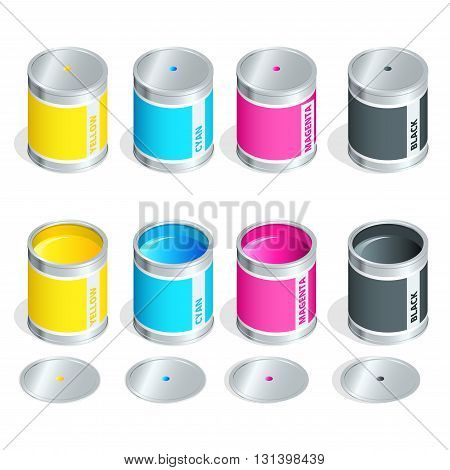 Bottles of ink in cmyk colors on white isolated background. Flat 3d vector isometric illustration