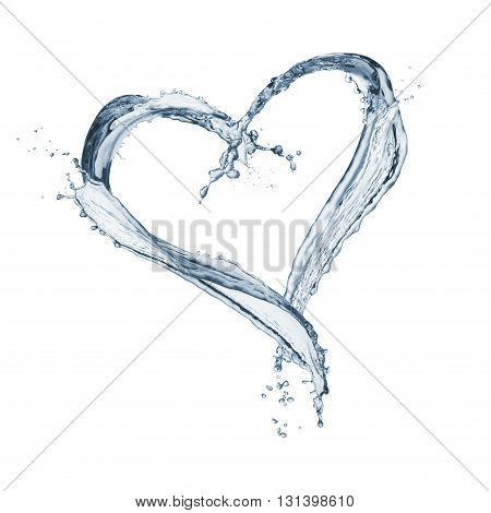 splash water heart shaped isolated on white