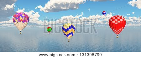 Computer generated 3D illustration with hot air balloons over ocean