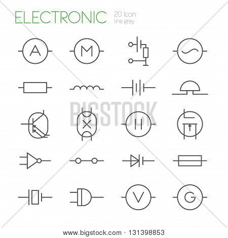 Electronic components line gray icons set of 20