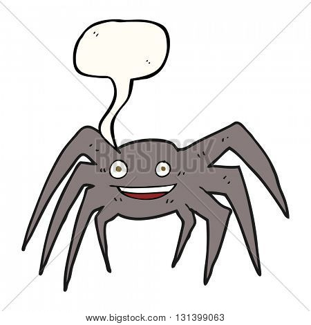 freehand drawn speech bubble cartoon happy spider