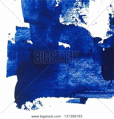 Vector abstract background texture brush stroke hand painted with acrylic paint blue on white color.