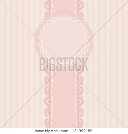 Pink and stripes background vintage style Greeting card template or background