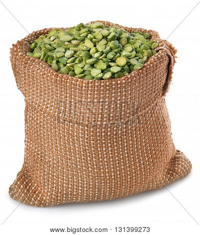 Beans in sack isolated on white. Split peas in burlap bag