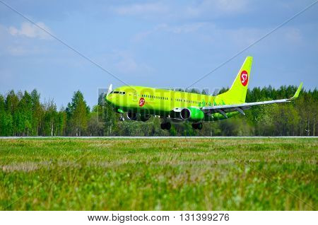 SAINT PETERSBURG RUSSIA - MAY 11 2016. S7 Siberia Airlines Boeing 737 Next Gen -registration number VP-BND- is landing in Pulkovo International airport