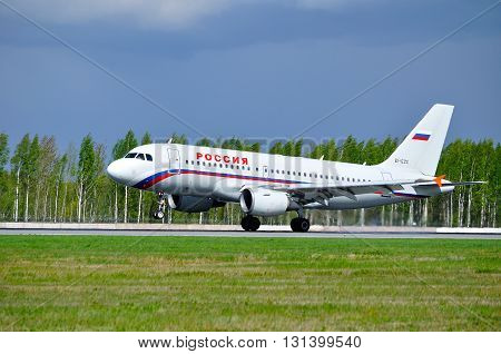 SAINT PETERSBURG RUSSIA - MAY 11 2016. Rossiya Airlines Airbus A319 airplane-registration number EI-EZC- is riding on the runway after arrival from Pulkovo International airport