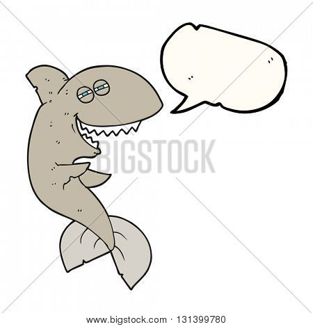 freehand drawn speech bubble cartoon laughing shark