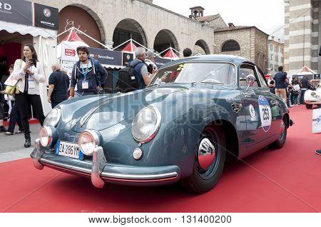 BRESCIA, ITALY - MAY 18: PORSCHE 356 1500 SUPER 1953 built on Mille Miglia,the famous race for retro cars, May 18,2016 in Brescia,Italy