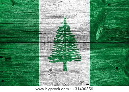 Flag Of Norfolk Island, Painted On Old Wood Plank Background