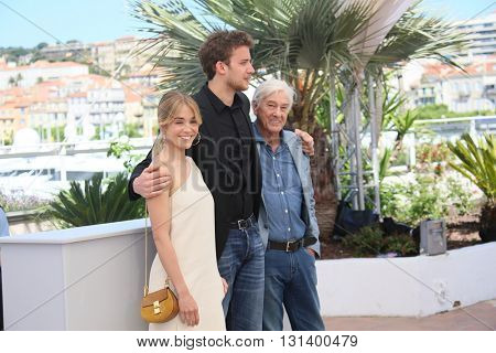 CANNES, FRANCE - MAY 21: Jonas Bloquet, director Paul Verhoeven attend the 'Elle' Photocall during the 69th annual Cannes Film Festival at the Palais des Festivals on May 21, 2016 in Cannes, France.