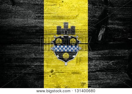 Flag Of Pittsburgh, Pennsylvania, Painted On Old Wood Plank Back