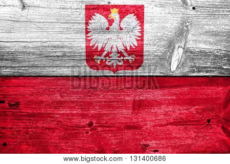 Flag Of Poland With Coat Of Arms, Painted On Old Wood Plank Back