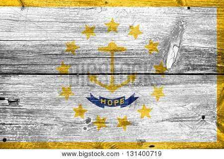 Flag Of Rhode Island, Painted On Old Wood Plank Background
