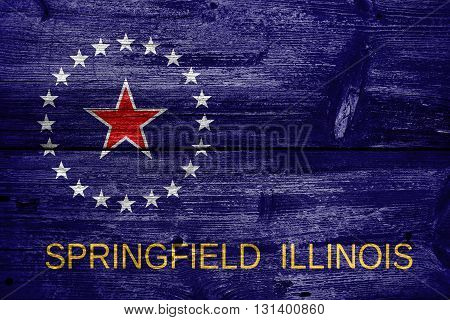Flag Of Springfield, Illinois, Painted On Old Wood Plank Backgro