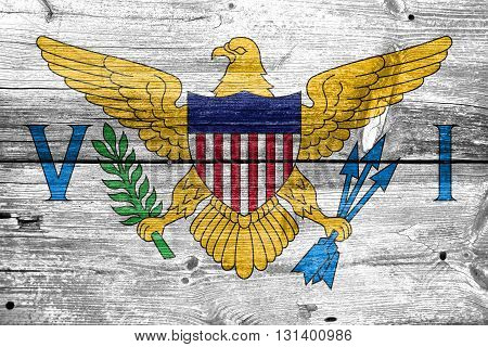 Flag Of The U.s. Virgin Islands, Painted On Old Wood Plank Backg
