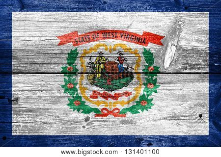 Flag Of West Virginia State, Painted On Old Wood Plank Backgroun