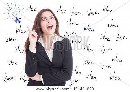 Idea concept with cheerful beautiful businesswoman and lightbulb drawn on white background
