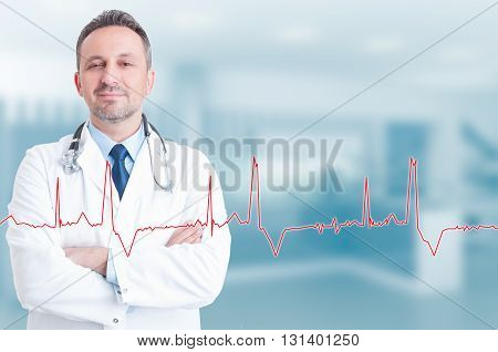 Healthy Lifestyle And Medical Concept With Confident Young Cardiologist
