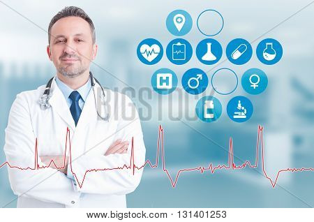 Trusthworthy Medic With Health Application Near Him On Virtual Interface