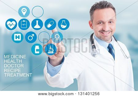 Medical Services Concept With Doctor Pressing On A Digital Screen