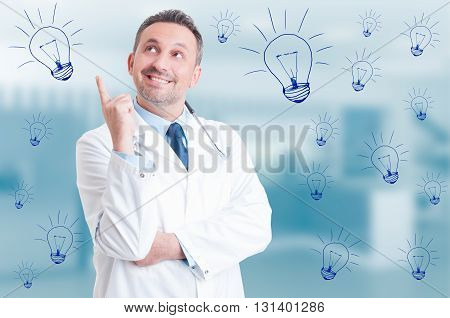 Handsome Doctor Thinking And Having A New Idea