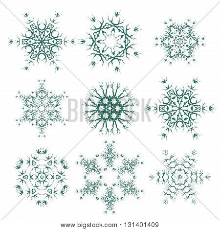 Round Geometric Ornaments Set Isolated on White Background. Elements for Decor