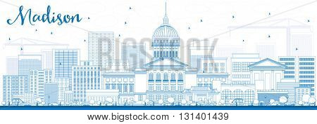 Outline Madison Skyline with Blue Buildings. Business Travel and Tourism Concept with Modern Buildings. Image for Presentation Banner Placard and Web Site.